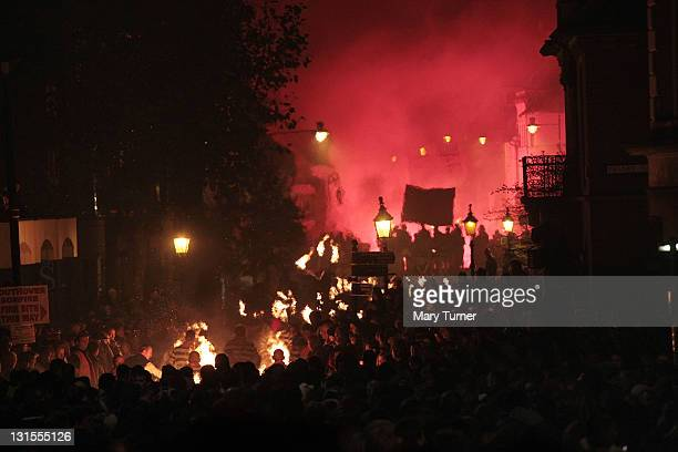 A general view during the Lewes annual bonfire night parade on November 05 2011 in Lewes England Thousands of people attend the parade which marks...