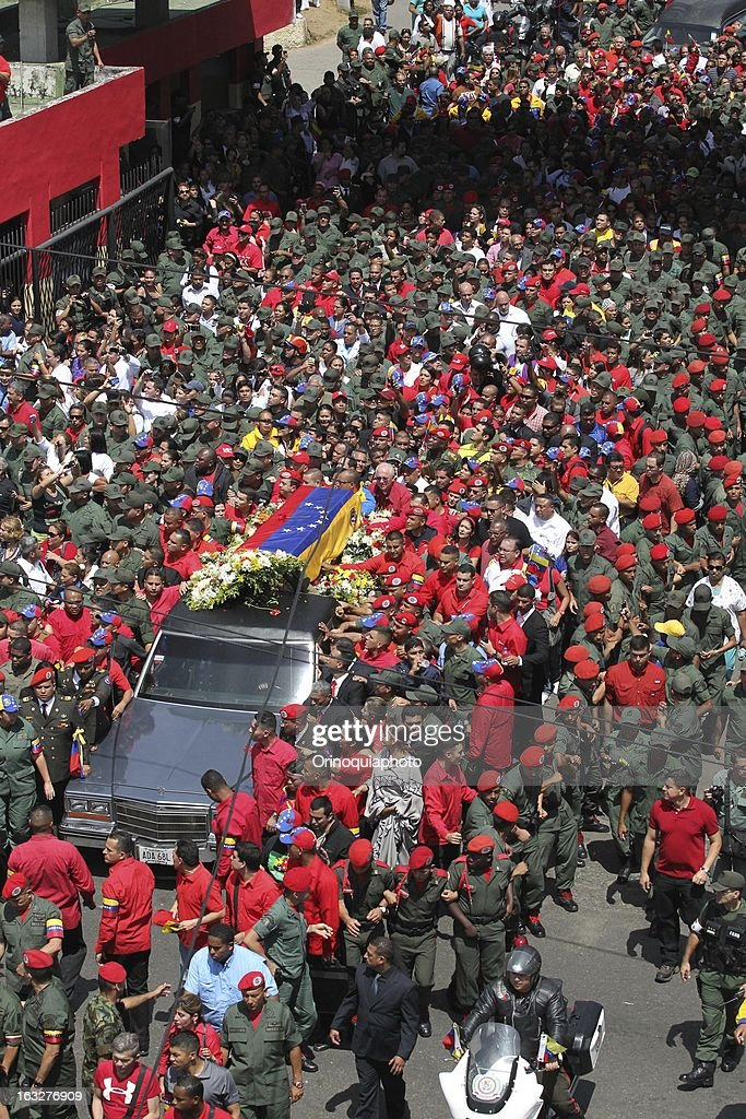 General view during the march of the supporters of President Hugo Chavez through the streets of Caracas to the military academy on March 06, 2013 in Caracas, Venezuela.