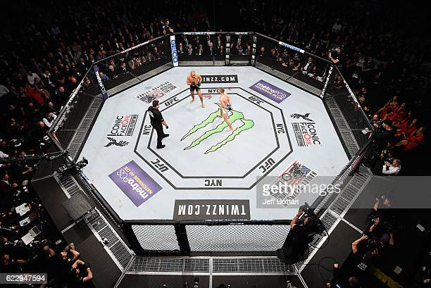 A general view during the match between Eddie Alvarez of the United States and Conor McGregor of Ireland during the UFC 205 event at Madison Square...