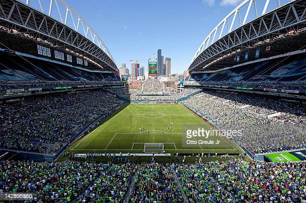 A general view during the match between the Seattle Sounders against the Colorado Rapids at CenturyLink Field on April 14 2012 in Seattle Washington...