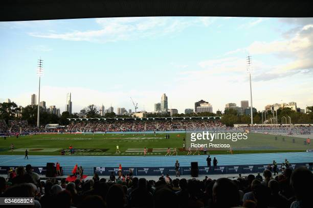 A general view during the Melbourne Nitro Athletics Series at Lakeside Stadium on February 11 2017 in Melbourne Australia