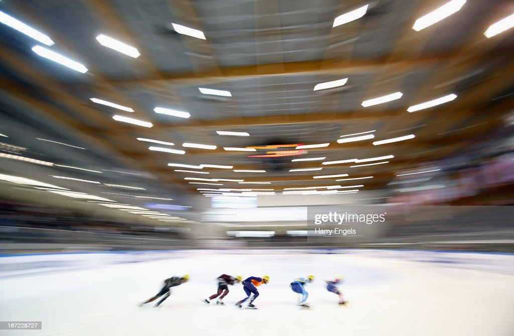 A general view during the Mens' 1500m preliminaries on day one of the Samsung ISU Short Track World Cup at the Palatazzoli on November 7, 2013 in Turin, Italy.
