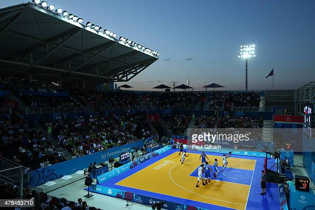 A general view during the Men's 3 x 3 Basketball Quarterfinal between Greece and Slovenia during day thirteen of the Baku 2015 European Games at the...