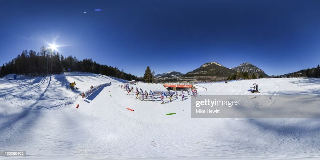 A general view during the Men's 50Km Cross Country Mass Start at the FIS Nordic World Ski Championships on March 3, 2013 in Val di Fiemme, Italy.