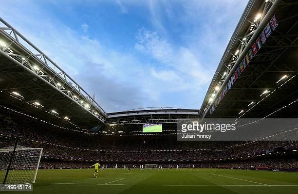 A general view during the Men's Football first round Group A match between Great Britain and Uruguay on Day 5 of the London 2012 Olympic Games at...