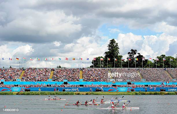 A general view during the Men's Kayak Double 1000m Canoe Sprint semifinal on Day 10 of the London 2012 Olympic Games at Eton Dorney on August 6 2012...