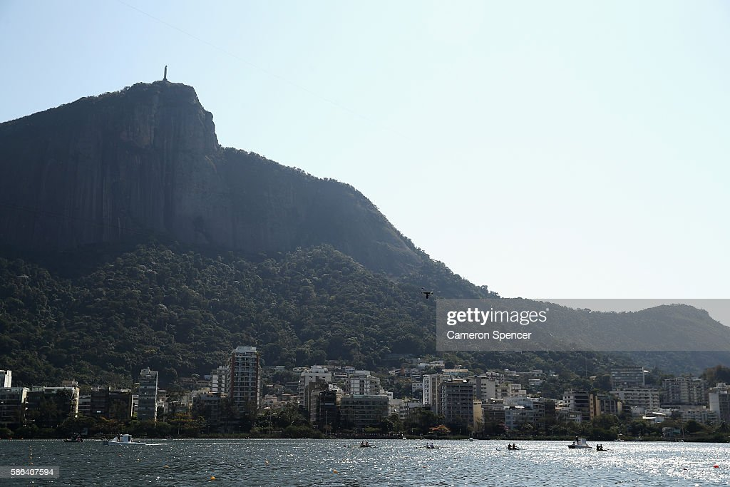 A general view during the Men's Pair Heat 2 on Day 1 of the Rio 2016 Olympic Games at the Lagoa Stadium on August 6 2016 in Rio de Janeiro Brazil