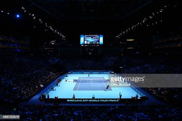 A general view during the men's singles final between Roger Federer of Switzerland and Novak Djokovic of Serbia on day eight of the Barclays ATP...