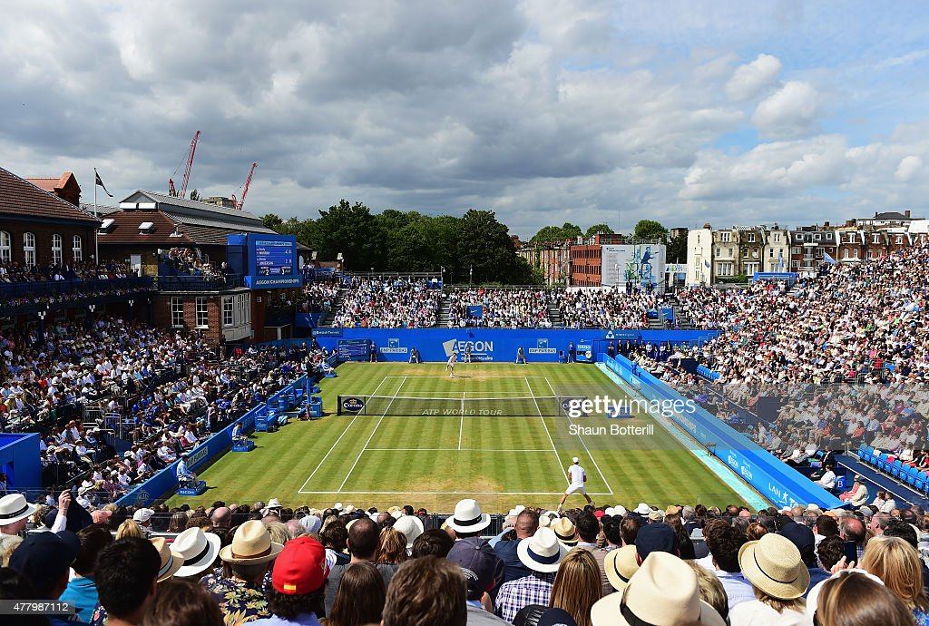 A general view during the men's singles final match between <a gi-track='captionPersonalityLinkClicked' href=/galleries/search?phrase=Kevin+Anderson+-+Tennisspieler&family=editorial&specificpeople=5405822 ng-click='$event.stopPropagation()'>Kevin Anderson</a> of South Africa and Andy Murray of Great Britain during day seven of the Aegon Championships at Queen's Club on June 21, 2015 in London, England.
