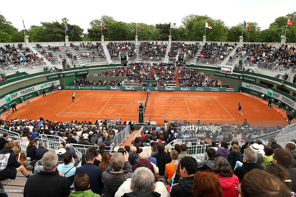 A general view during the Men's Singles first round match between Julien Benneteau of France and Lucas Pouille of France on day three of the 2016 French Open at Roland Garros on May 24, 2016 in Paris, France.