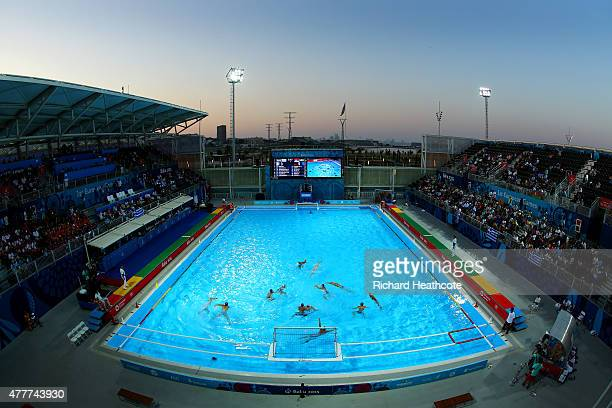 A general view during the Men's Water Polo semi final between Greece and Serbia during day seven of the Baku 2015 European Games at the Water Polo...