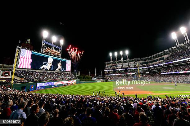A general view during the national anthem before Game Seven of the 2016 World Series between the Chicago Cubs and Cleveland Indians at Progressive...