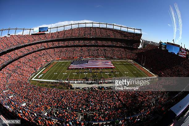A general view during the national anthem before the AFC Championship game between the New England Patriots and the Denver Broncos at Sports...