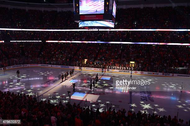 A general view during the national anthem before the game between the Anaheim Ducks and the Chicago Blackhawks in Game Seven of the Western...