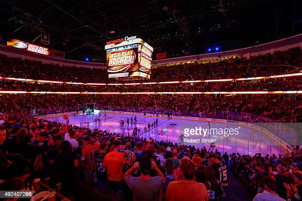 A general view during the national anthem before the game between the Anaheim Ducks and the Vancouver Canucks on October 12 2015 at Honda Center in...