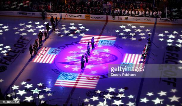 A general view during the national anthem before the game between the Vancouver Canucks and Anaheim Ducks on October 12 2015 at Honda Center in...