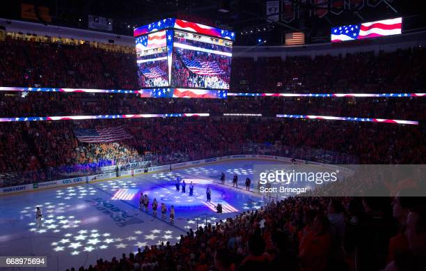 A general view during the national anthem before the game between the Anaheim Ducks and the Calgary Flames in Game Two of the Western Conference...