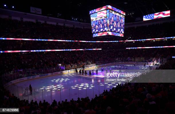 A general view during the national anthem before the game between the Edmonton Oilers and the Anaheim Ducks in Game Two of the Western Conference...