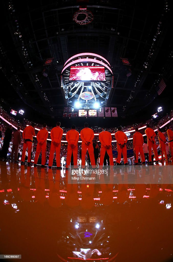 A general view during the National Anthem prior to Game One of the Eastern Conference Finals between the Miami Heat and the Indiana Pacers at AmericanAirlines Arena on May 22, 2013 in Miami, Florida.