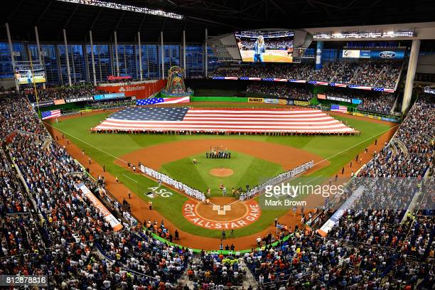 A general view during the national anthem prior to the 88th MLB AllStar Game at Marlins Park on July 11 2017 in Miami Florida