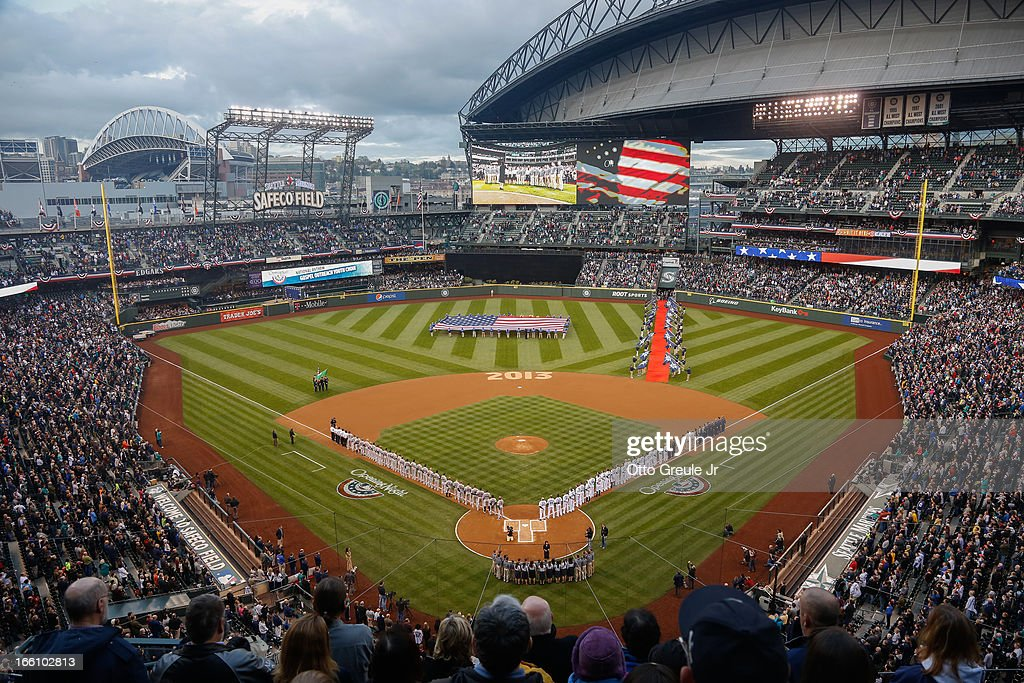 A general view during the National Anthem prior to the game between the Seattle Mariners and the Houston Astros on Opening Day at Safeco Field on April 8, 2013 in Seattle, Washington.