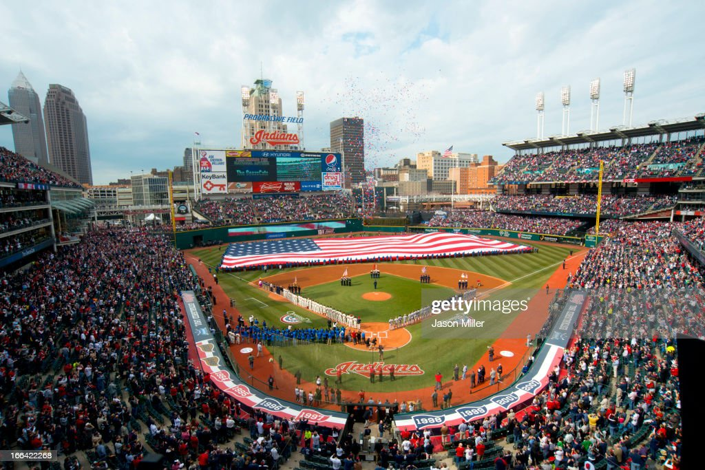 General view during the national anthem prior to the game between the Cleveland Indians and the New York Yankees on opening day at Progressive Field on April 8, 2013 in Cleveland, Ohio.