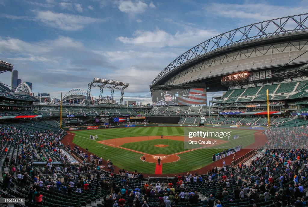 A general view during the national anthem prior to the game between the Seattle Mariners against the Houston Astros at Safeco Field on June 12, 2013 in Seattle, Washington.