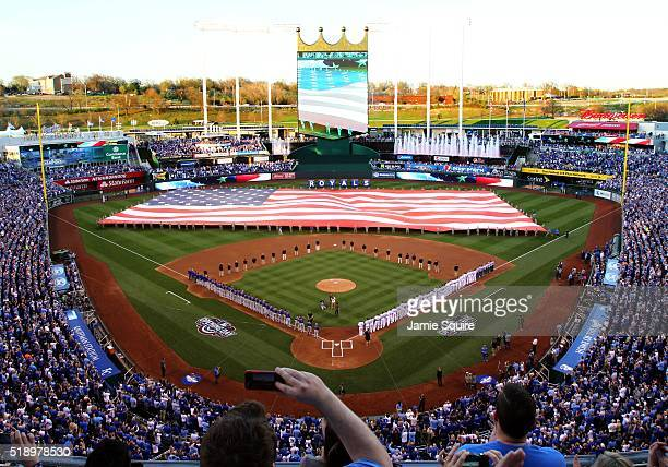 A general view during the National Anthem prior to the opening day game between the Kansas City Royals and the New York Mets Kauffman Stadium on...