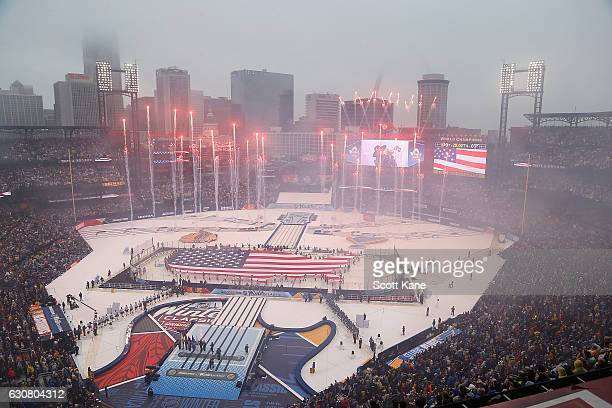A general view during the National Anthem prior to the start of the 2017 Bridgestone NHL Winter Classic between the St Louis Blues and the Chicago...