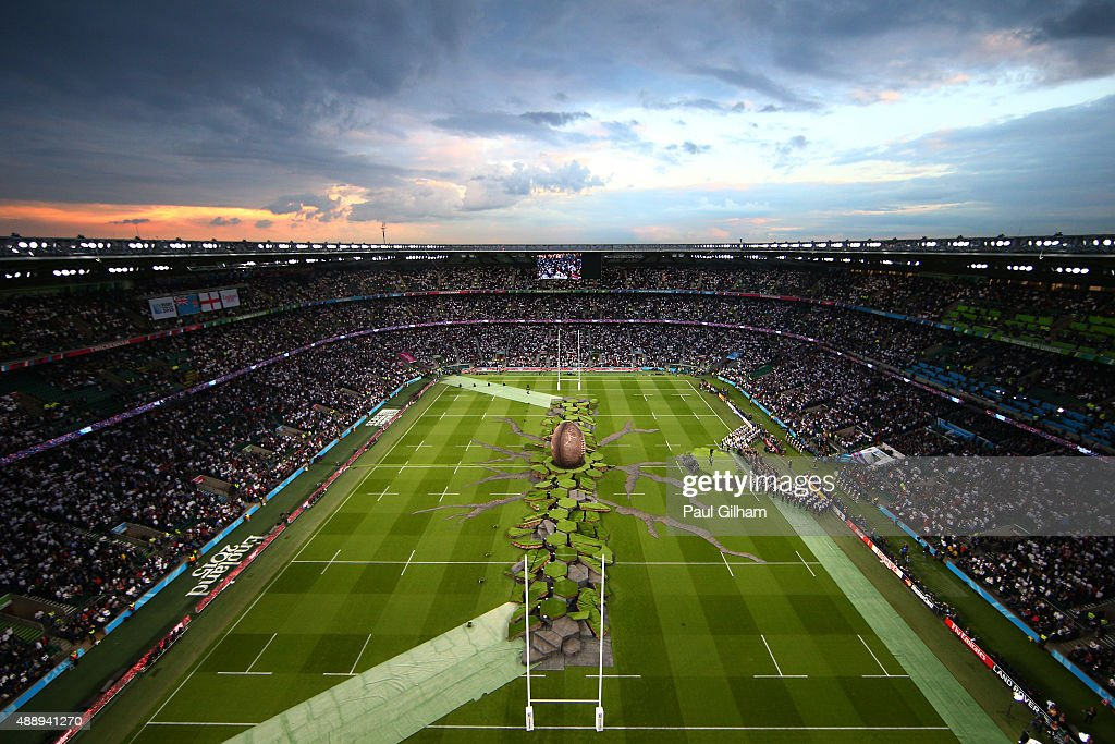 A general view during the opening ceremony ahead of the 2015 Rugby World Cup Pool A match between England and Fiji at Twickenham Stadium on September 18, 2015 in London, United Kingdom.