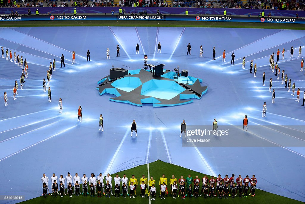 A general view during the opening ceremony as the players line up on the pitch prior to the UEFA Champions League Final match between Real Madrid and Club Atletico de Madrid at Stadio Giuseppe Meazza on May 28, 2016 in Milan, Italy.