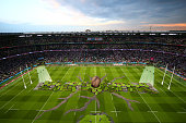 A general view during the opening ceremony during the 2015 Rugby World Cup Pool A match between England and Fiji at Twickenham Stadium on September...