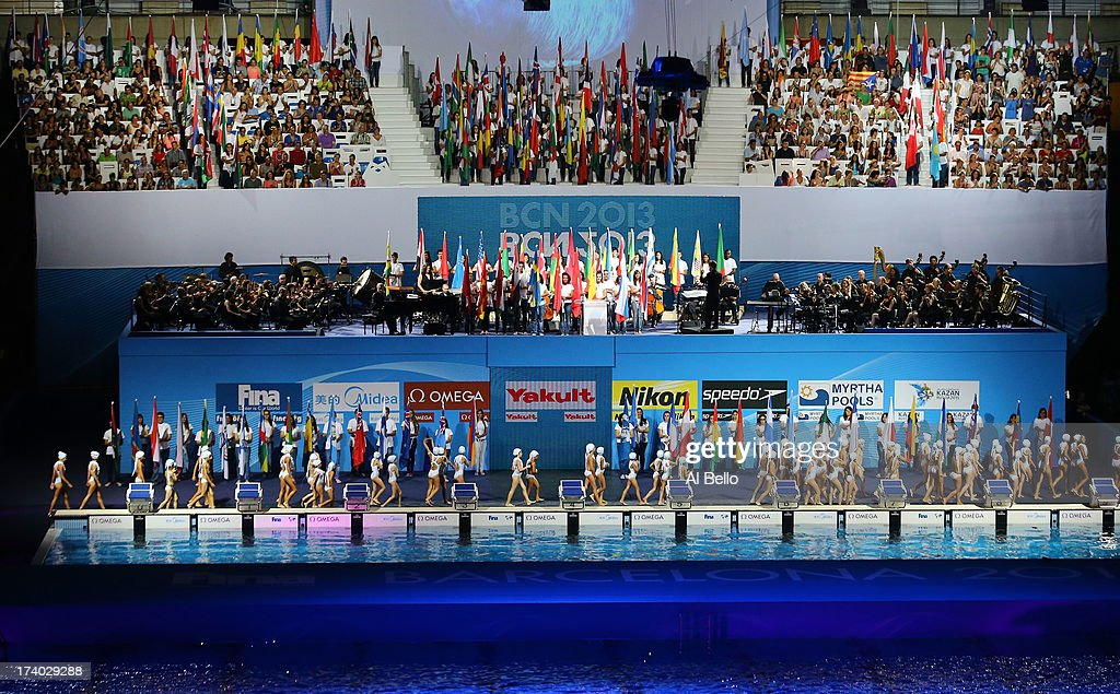 A general view during the Opening Ceremony of the 15th FINA World Championships at Palau Sant Jordi on July 19, 2013 in Barcelona, Spain.
