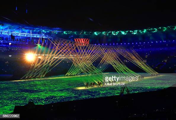 A general view during the Opening Ceremony of the Rio 2016 Olympic Games at Maracana Stadium on August 5 2016 in Rio de Janeiro Brazil