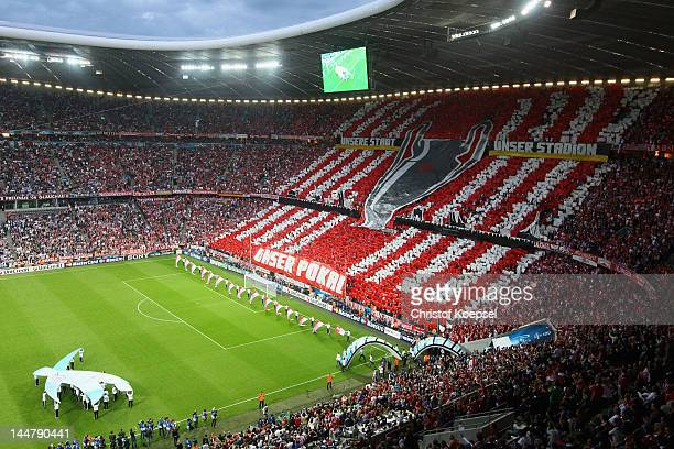 A general view during the opening ceremony of the UEFA Champions League Final between FC Bayern Muenchen and Chelsea at the Fussball Arena München on...