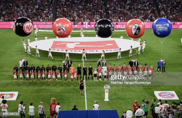 A general view during the opening ceremony prior to the Bundesliga match between FC Bayern Muenchen and Bayer 04 Leverkusen at Allianz Arena on...