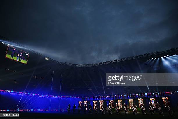 A general view during the opening ceremoy ahead of the 2015 Rugby World Cup Pool A match between England and Fiji at Twickenham Stadium on September...