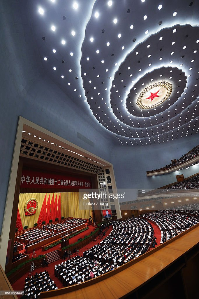 A general view during the opening session of the annual National People's Congress at Great Hall of the People on March 5, 2013 in Beijing, China. Over 2,000 members of the 12th National Committee of the Chinese People's Political Consultative, a political advisory body, are attending the annual session, during which they will discuss the development of China. Premier Wen Jiabao's opening report focused on the goals of improved welfare provision, steady economic growth while maintaining social stability.