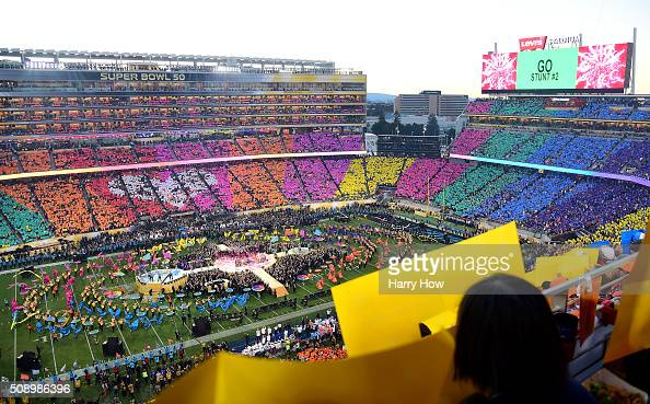 A general view during the Pepsi Super Bowl 50 Halftime Show at Levi's Stadium on February 7 2016 in Santa Clara California