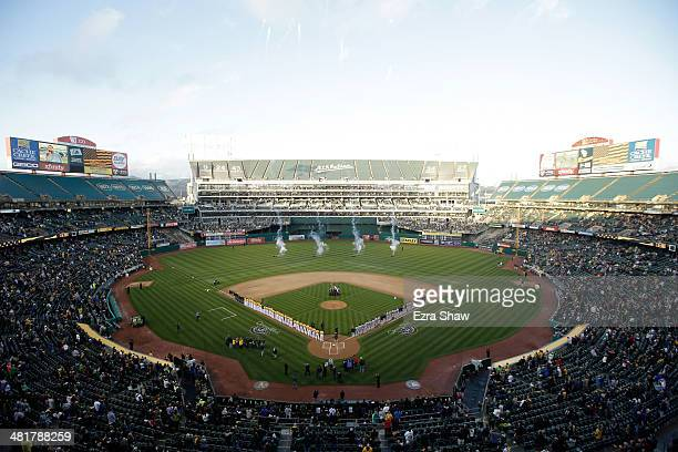 A general view during the playing of the National Anthem before the Oakland Athletics played against the Cleveland Indians on Opening Day at Oco...