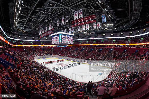 General view during the pregame ceremony prior to the IIHF exhibition game between Team Canada and Team Finland at the Bell Centre on December 19...