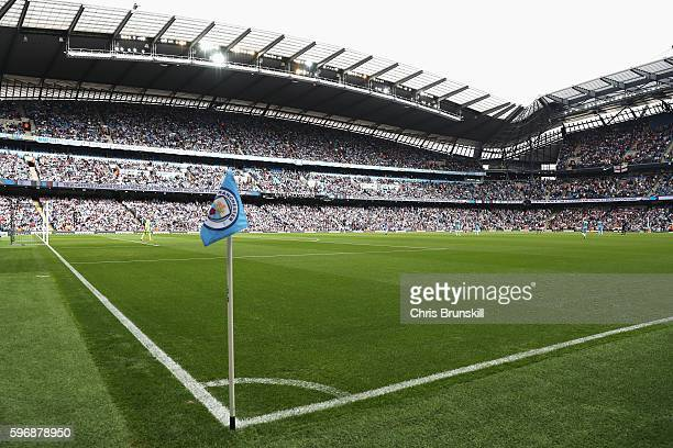 A general view during the Premier League match between Manchester City and West Ham United at Etihad Stadium on August 28 2016 in Manchester England