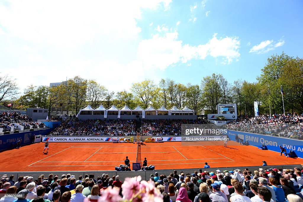 General view during the quarter finale match between Alexander Zverev of Germany and David Goffin of Belgium of the BMW Open at Iphitos tennis club on April 29, 2016 in Munich, Germany.