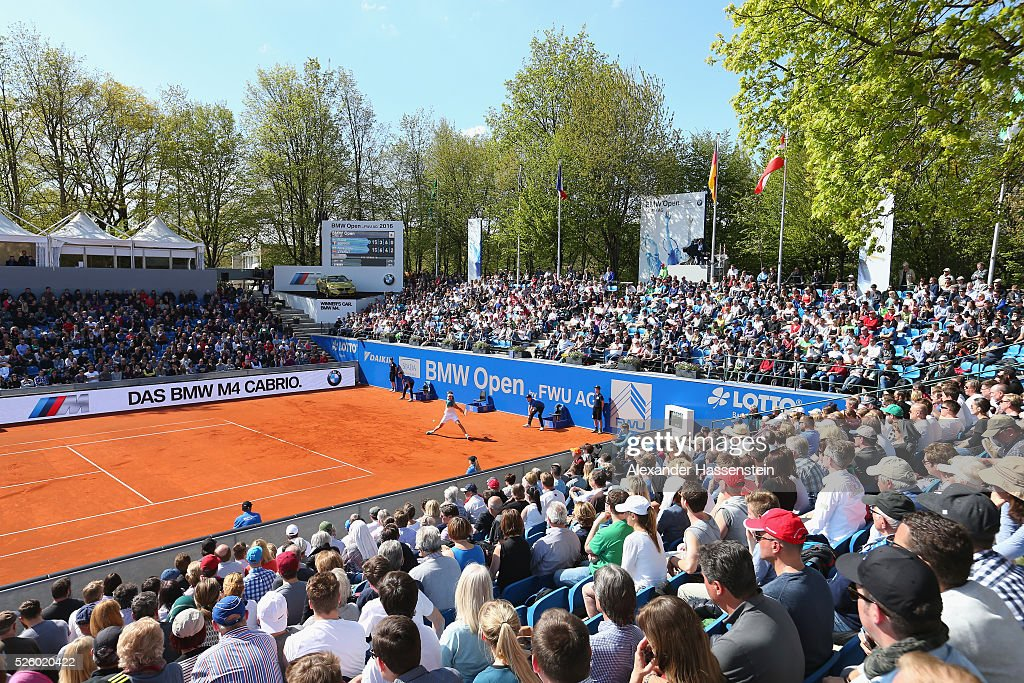 General view during the quarter finale match between <a gi-track='captionPersonalityLinkClicked' href=/galleries/search?phrase=Alexander+Zverev+-+Tennisspelare&family=editorial&specificpeople=11367343 ng-click='$event.stopPropagation()'>Alexander Zverev</a> of Germany and <a gi-track='captionPersonalityLinkClicked' href=/galleries/search?phrase=David+Goffin&family=editorial&specificpeople=2291768 ng-click='$event.stopPropagation()'>David Goffin</a> of Belgium of the BMW Open at Iphitos tennis club on April 29, 2016 in Munich, Germany.