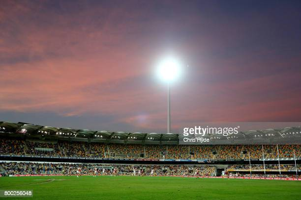 General view during the round 14 AFL match between the Brisbane Lions and the Greater Western Sydney Giants at The Gabba on June 24 2017 in Brisbane...