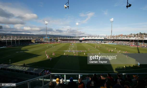 A general view during the round 16 AFL match between the Hawthorn Hawks and the Greater Western Sydney Giants at University of Tasmania Stadium on...