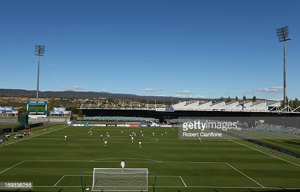 A general view during the round 16 ALeague match between the Melbourne Victory and the Central Coast Mariners at Aurora Stadium on January 12 2013 in...