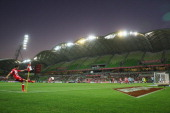 A general view during the round 17 ALeague match between Melbourne Heart and Sydney FC at AAMI Park on January 31 2014 in Melbourne Australia