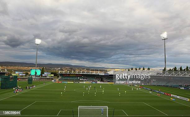 A general view during the round 17 ALeague match between the Melbourne Victory and Gold Coast United at Aurora Stadium on February 1 2012 in...