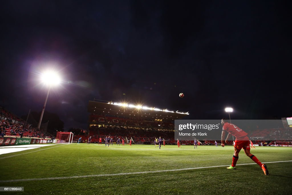A general view during the round 25 A-League match between Adelaide United and Perth Glory at Coopers Stadium on March 31, 2017 in Adelaide, Australia.